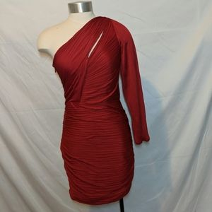 Halston Heritage one shoulder ruched dress